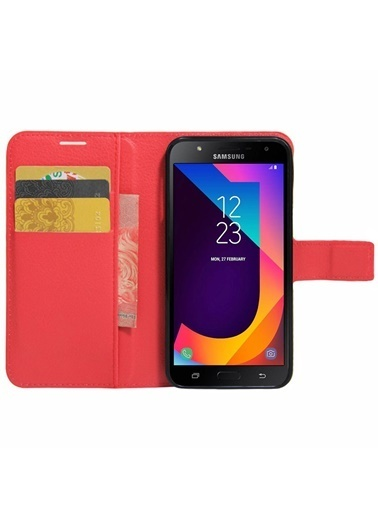 Microsonic Cüzdanlı Deri Samsung Galaxy J7 Core Kılıf Kırmızı Kırmızı